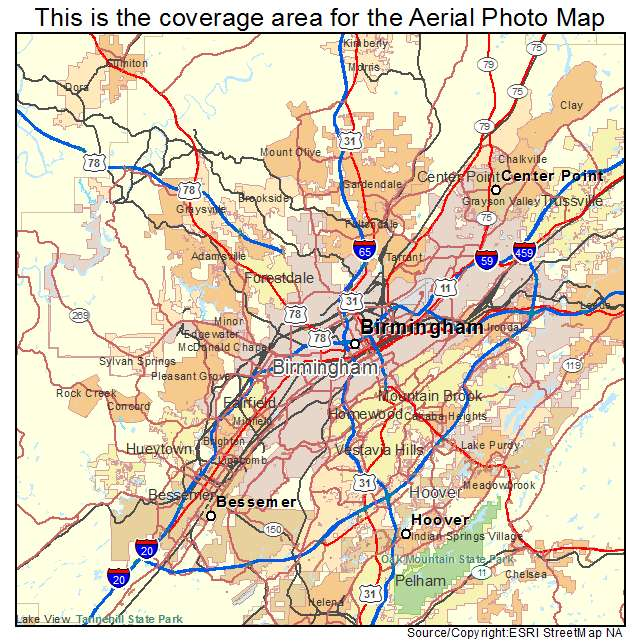 Aerial Photography Map Of Birmingham AL Alabama