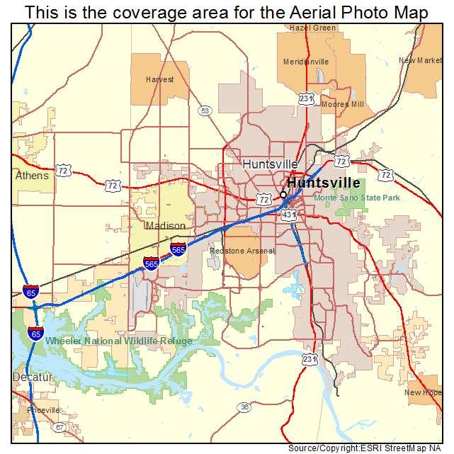 Huntsville, AL Alabama Aerial Photography Map 2015