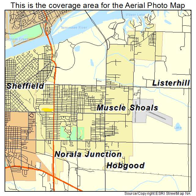 Aerial Photography Map Of Muscle Shoals AL Alabama
