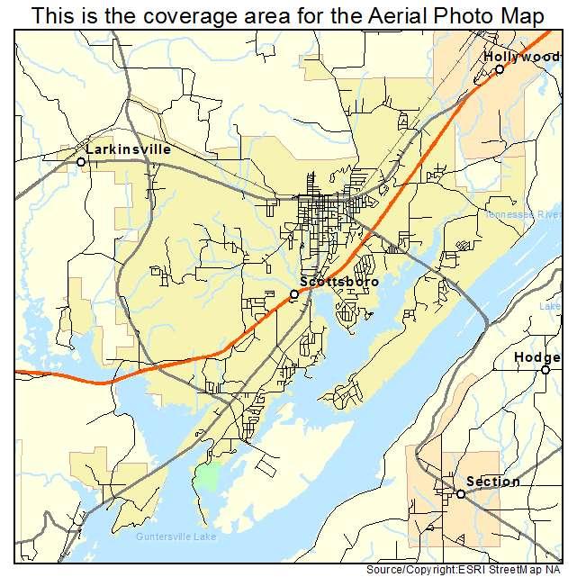 Aerial Photography Map Of Scottsboro AL Alabama