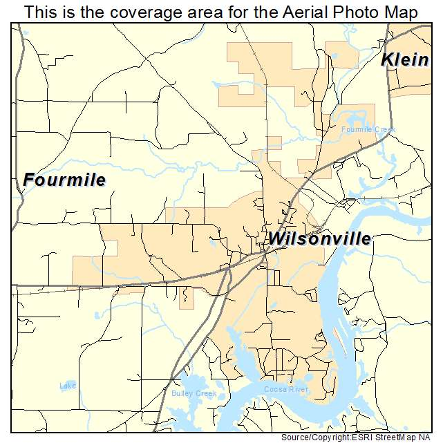 Aerial Photography Map Of Wilsonville Al Alabama