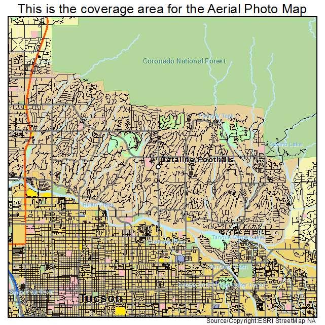 Aerial Photography Map of Catalina Foothills AZ Arizona
