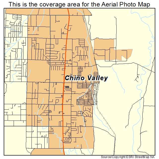 Aerial Photography Map of Chino Valley AZ Arizona