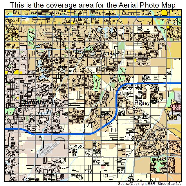 Aerial Photography Map of Gilbert AZ Arizona