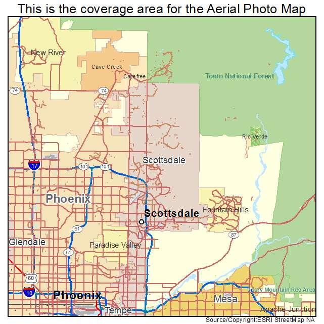Scottsdale, AZ Arizona Aerial Photography Map 2015