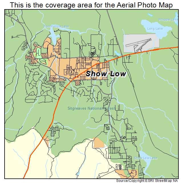 Show Map Of Arizona.Show Low Az Arizona Aerial Photography Map 2015