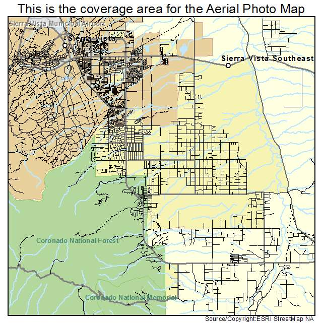 Map Of Southeast Arizona.Sierra Vista Southeast Az Arizona Aerial Photography Map 2015