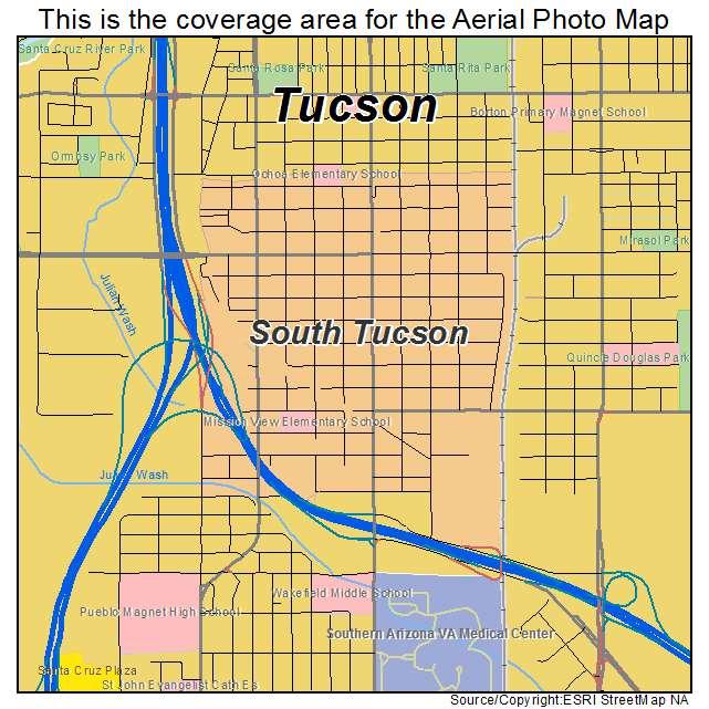 Map Of South Arizona.Aerial Photography Map Of South Tucson Az Arizona