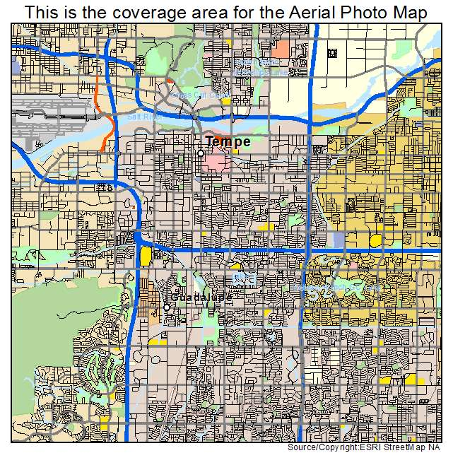 Aerial Photography Map Of Tempe AZ Arizona