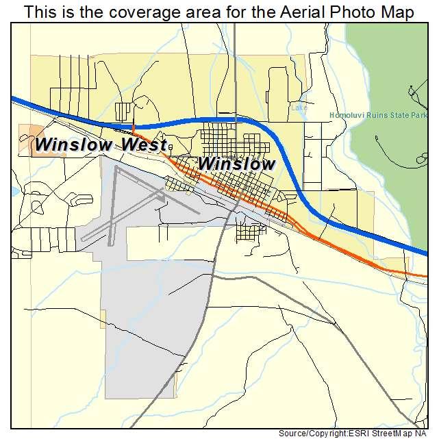 Aerial Photography Map Of Winslow Az Arizona