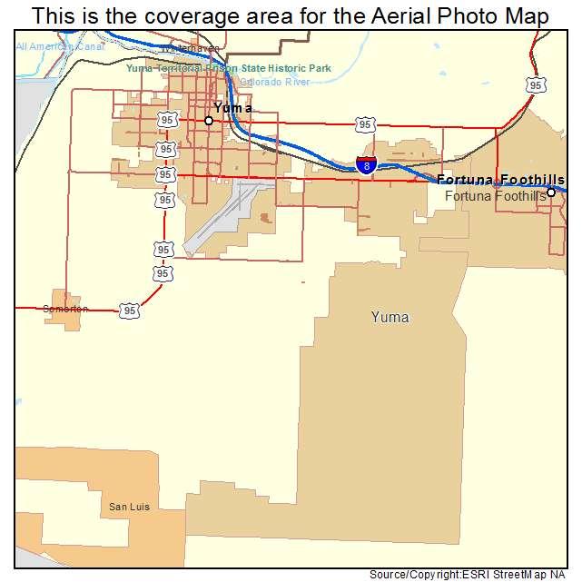 Street Map Of Yuma Arizona.Aerial Photography Map Of Yuma Az Arizona