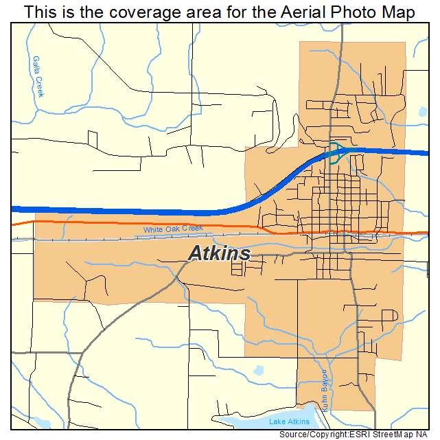 Aerial Photography Map Of Atkins Ar Arkansas