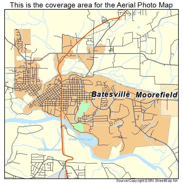 Aerial Photography Map Of Batesville AR Arkansas