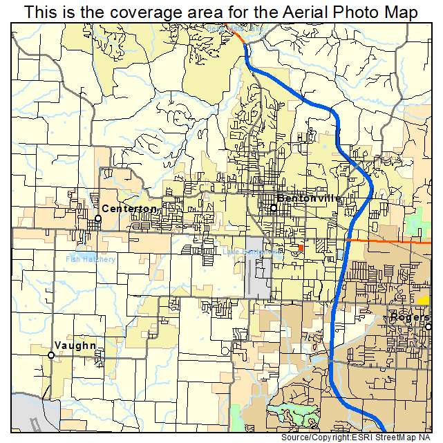 Aerial Photography Map of Bentonville AR Arkansas