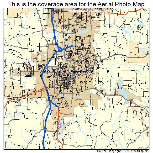 Fayetteville, AR Arkansas Aerial Photography Map 2015