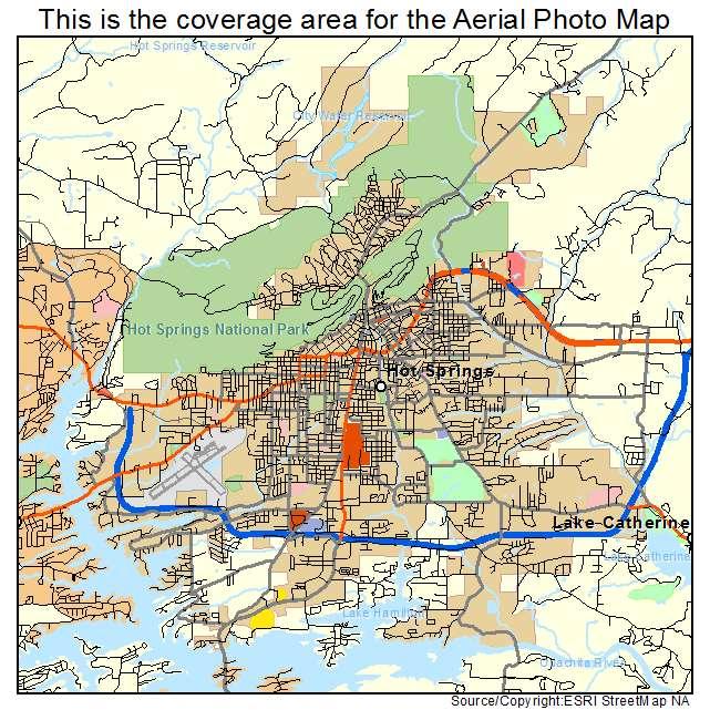 Aerial Photography Map Of Hot Springs AR Arkansas