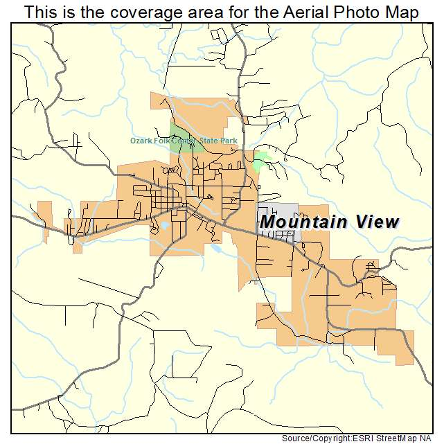 Aerial Photography Map Of Mountain View AR Arkansas