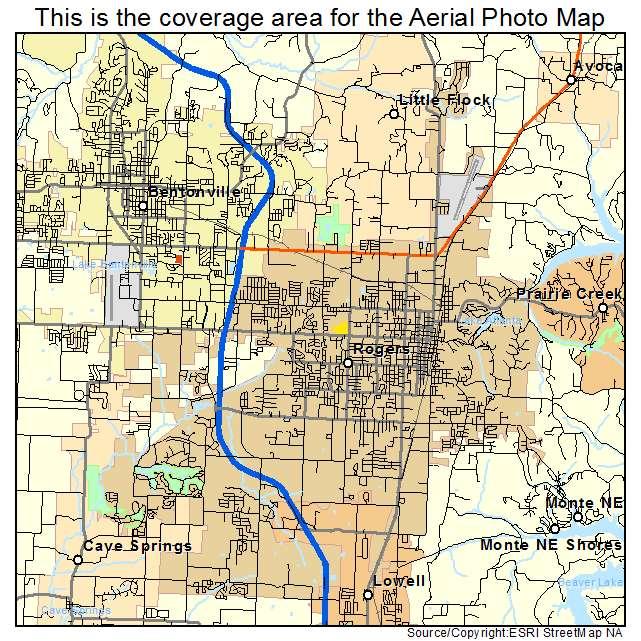 Rogers, AR Arkansas Aerial Photography Map 2015