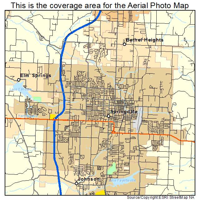 Aerial Photography Map of Springdale AR Arkansas
