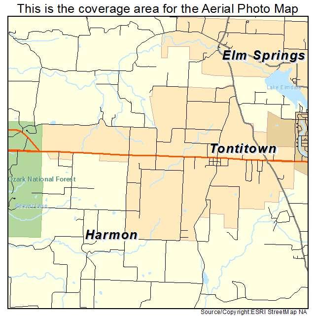 Tontitown Arkansas Map.Aerial Photography Map Of Tontitown Ar Arkansas
