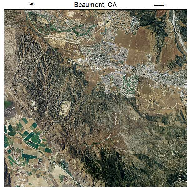 Beaumont, CA air photo map