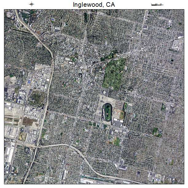 Inglewood, CA California Aerial Photography Map 2014