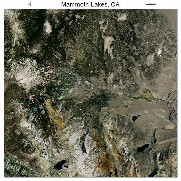 Mammoth Lakes, CA air photo map