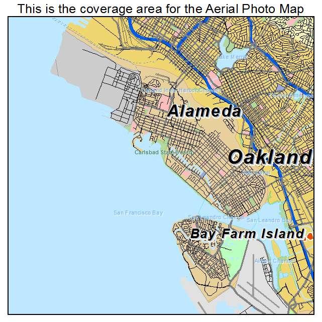 Aerial Photography Map of Alameda CA California