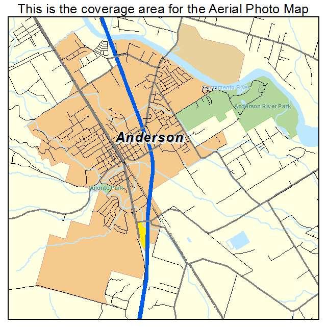 Aerial Photography Map Of Anderson Ca California