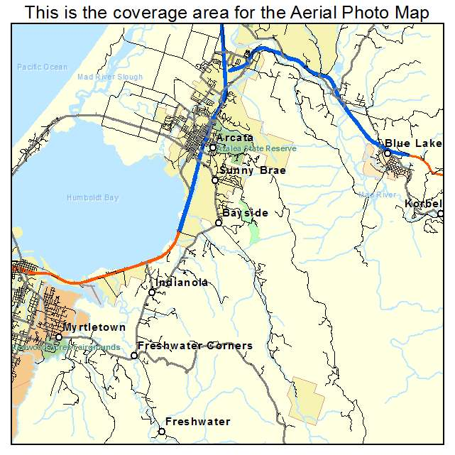 Aerial Photography Map of Arcata CA California