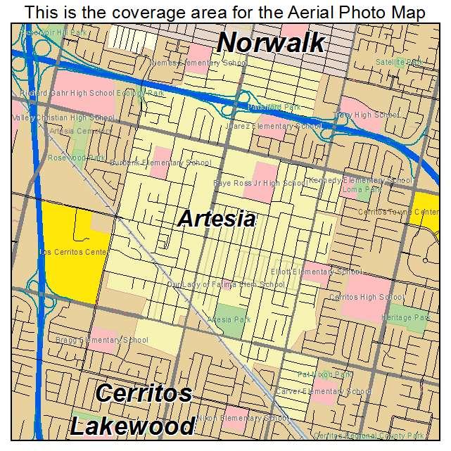 Artesia California Map.Artesia Ca California Aerial Photography Map 2014