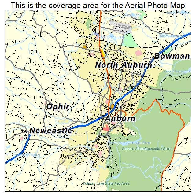 aerial photography map of auburn ca california