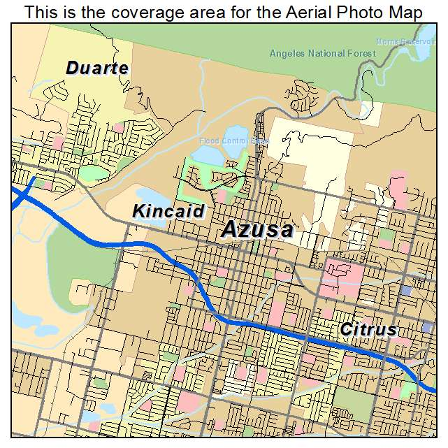 Aerial Photography Map of Azusa, CA California on
