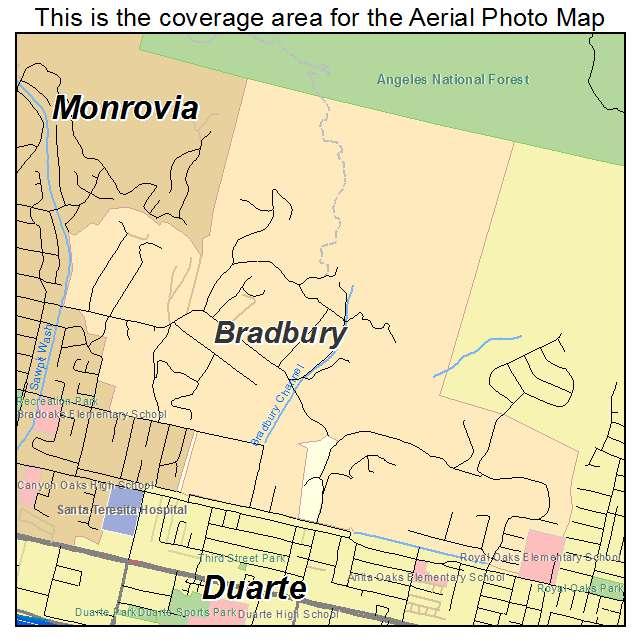 Aerial Photography Map of Bradbury, CA California