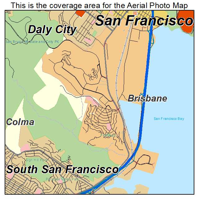 Aerial Photography Map of Brisbane, CA California