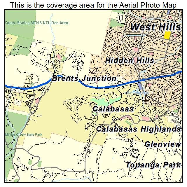 Aerial Photography Map of Calabasas, CA California on