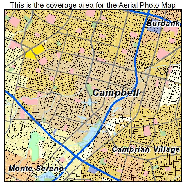 Campbell Ca California Aerial Photography Map 2014