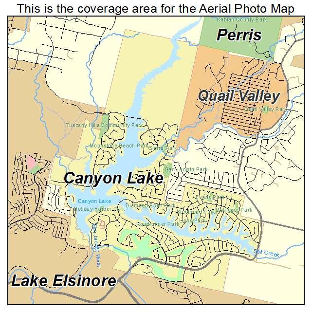 Aerial Photography Map of Canyon Lake CA California