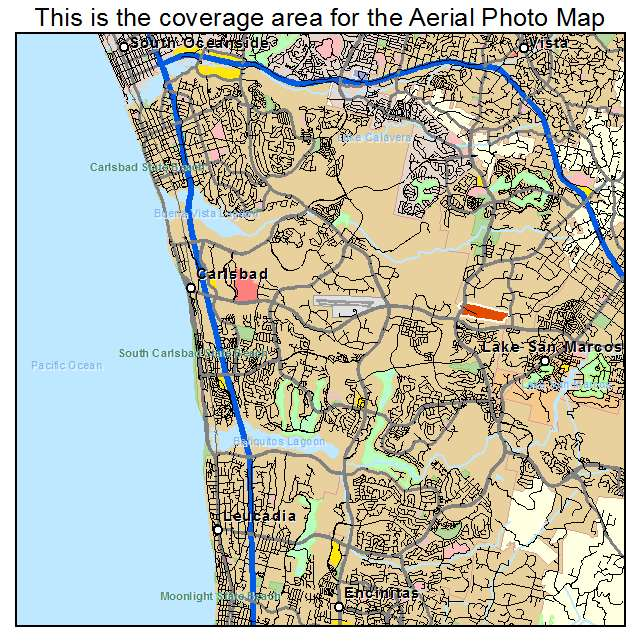 Aerial Photography Map of Carlsbad CA California