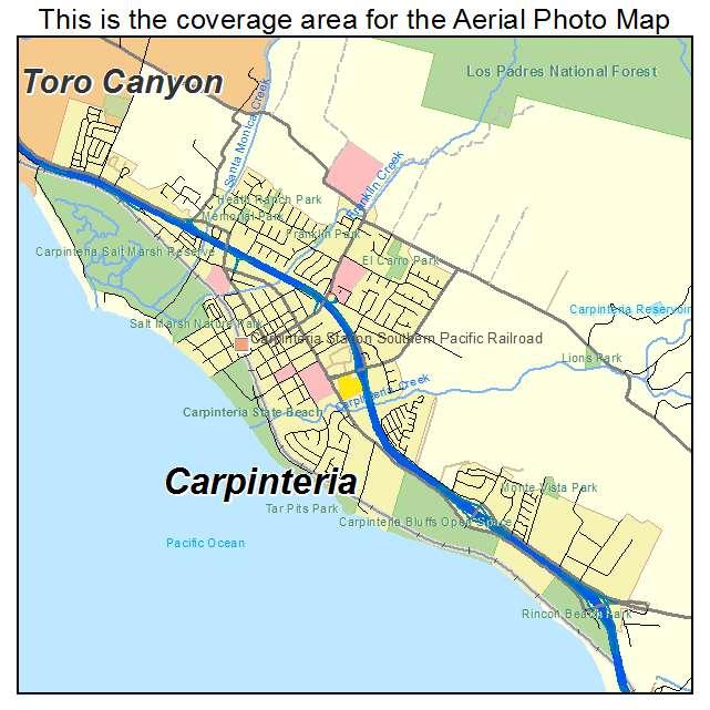 Aerial Photography Map of Carpinteria, CA California