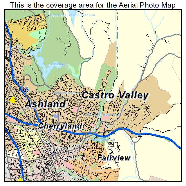Aerial Photography Map Of Castro Valley Ca California