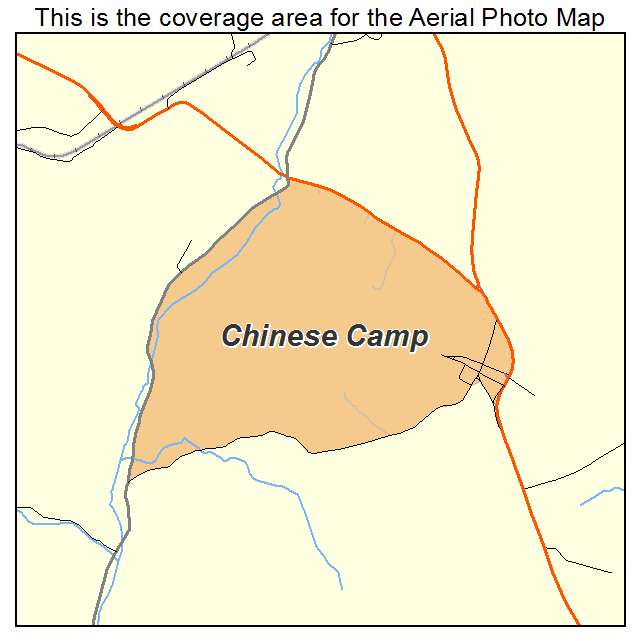Aerial Photography Map of Chinese Camp CA California