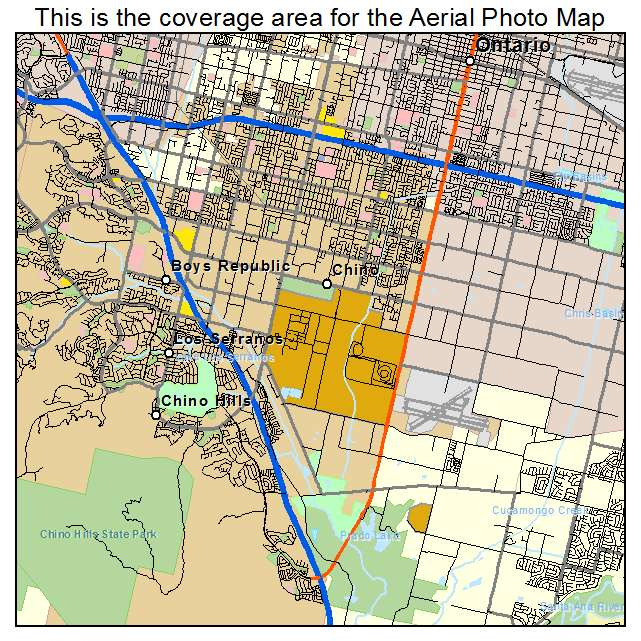 Aerial graphy Map of Chino CA California