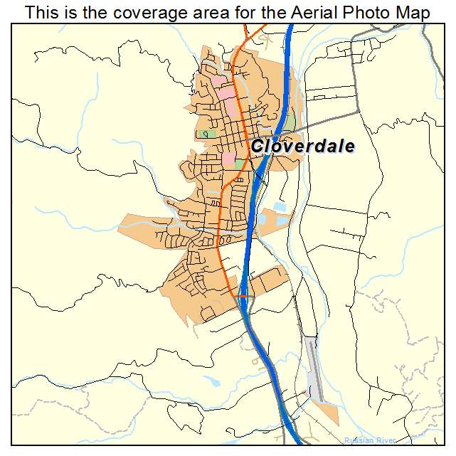 Aerial Photography Map of Cloverdale CA California
