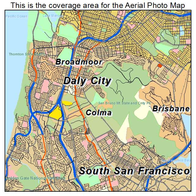 Aerial Photography Map of Daly City CA California