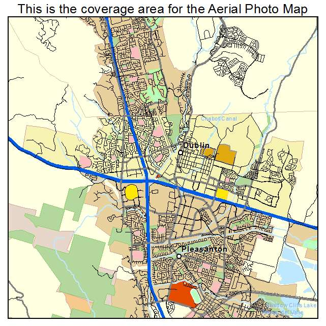 Aerial Photography Map of Dublin, CA California on