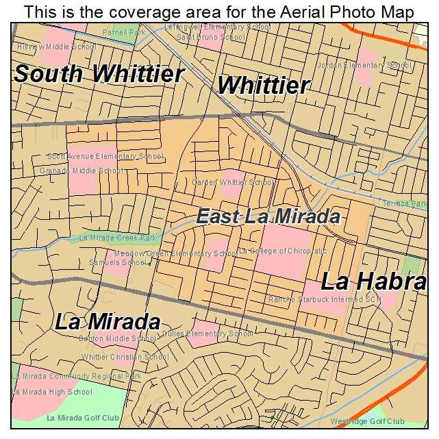 Aerial Photography Map Of East La Mirada Ca California