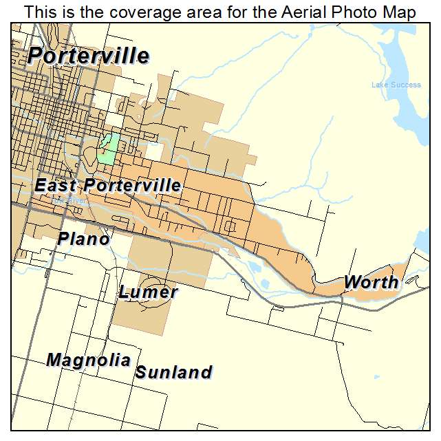 Aerial Photography Map of East Porterville, CA California