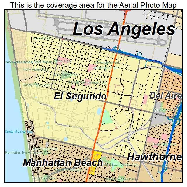 El Segundo California Map Aerial Photography Map of El Segundo, CA California