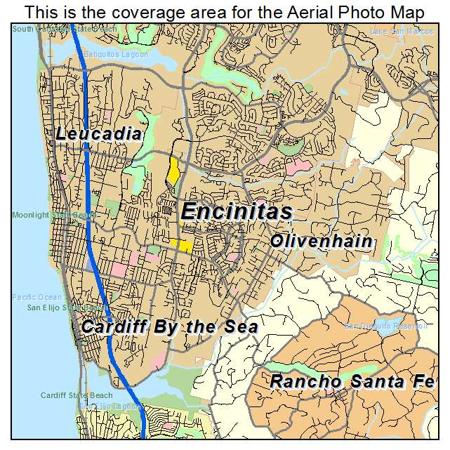 Aerial Photography Map of Encinitas CA California